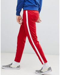 Bershka - Casual Trousers In Red With White Side Stripe - Lyst