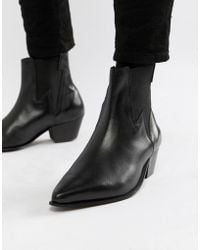 ASOS Cuban Heel Western Chelsea Boots In Black Leather With Lightning Detail