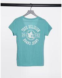 True Religion Camiseta azul con cuello