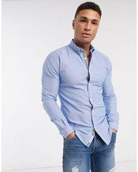 River Island Голубая Оксфордская Рубашка Узкого Кроя -синий