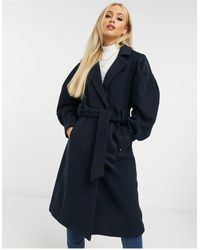 Y.A.S Manteau ajusté en laine avec liens à la taille - Bleu marine