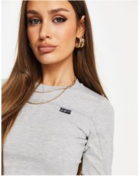 The Couture Club Fitted Long Sleeve Crop Top - Grey