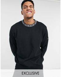 Calvin Klein Exclusive To Asos Neck Logo Relaxed Fit Sweatshirt - Black