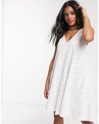ASOS Broderie Swing Mini Sundress - White
