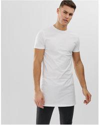ASOS Extra Lang T-shirt Met Ronde Hals - Wit