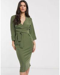 ASOS Vestito midi kaki con scollo a V e maniche a kimono - Verde