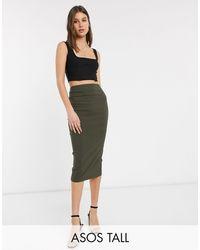 ASOS Asos Design Tall High Waist Longerline Pencil Skirt-green