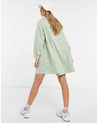 Monki - Шалфейно-зеленое Платье-свитшот Мини Свободного Кроя Из Смесового Органического Хлопка Nilla-зеленый Цвет - Lyst