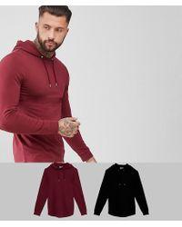 ASOS - Longline Muscle Fit Hoodie 2 Pack With Curved Hem In Black/burgundy Save - Lyst