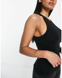 ASOS Camiseta negra sin mangas con cuello subido - Negro