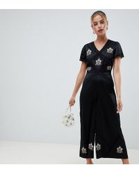 78703768b74d ASOS - Asos Design Petite Tea Jumpsuit With Embroidery And Lace Insert -  Lyst