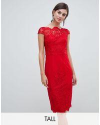 Chi Chi London Lace Midi Pencil Dress - Red