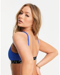 Nike Голубой Бикини-топ С Лентой С Логотипами-галочками - Синий