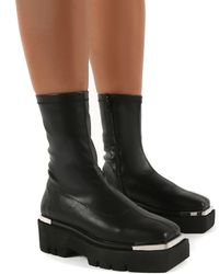 Public Desire Черные Ботинки С Металлической Отделкой Woke-черный Цвет