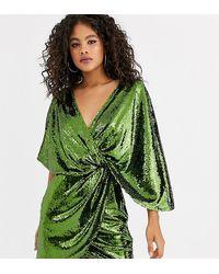 ASOS ASOS DESIGN Tall - Vestitino con paillettes e maniche a kimono asimmetriche - Verde