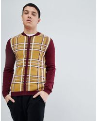 ASOS - Knitted Bomber In Burgundy And Mustard Check - Lyst