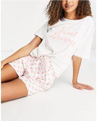 "Pieces – Bedrucktes Pyjamaset mit ""Sweet Dreams""-Schriftzug - Weiß"