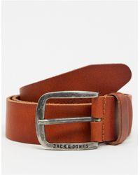 Jack & Jones Коричневый Гладкий Кожаный Ремень С Фирменной Пряжкой -коричневый Цвет