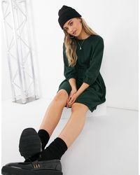 Monki Темно-зеленое Хлопковое Платье Мини С Присборенной Юбкой Sol-зеленый