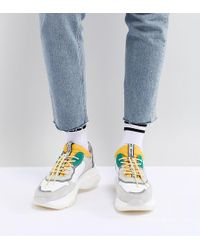 Bronx - Yellow & Green Suede Chunky Sneakers - Lyst