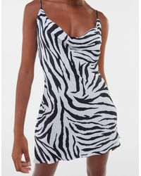 Bershka Satin Mini Zebra Print Dress - Black