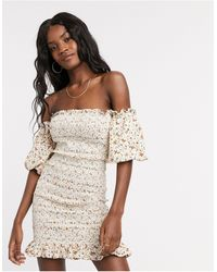 TOPSHOP Shirred Bardot Mini Dress - Natural