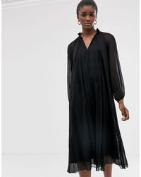 ASOS Pleated Trapeze Midi Dress With Long Sleeves - Black