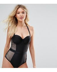 Wolf & Whistle - Dot Mesh Tummy Control Swimsuit Dd-g Cup - Lyst