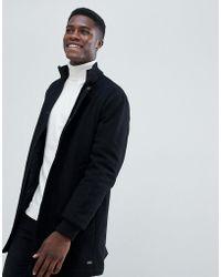 Esprit Ribbed Funnel Neck Wool Coat - Black