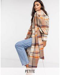 Y.A.S Petite Manteau long en laine avec ceinture à nouer à la taille et manches volumineuses - À carreaux - Multicolore