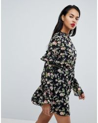 Missguided - Frill Sleeve Floral Dress - Lyst