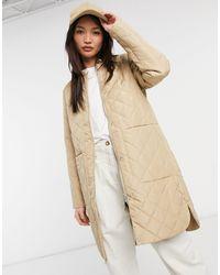 SELECTED Удлиненное Стеганое Пальто Бежевого Цвета Femme-бежевый - Естественный