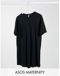 ASOS Asos Design Maternity Textured Longline T-shirt With Side Splits - Black