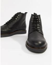 H by Hudson Черные Кожаные Ботинки На Шнуровке -черный
