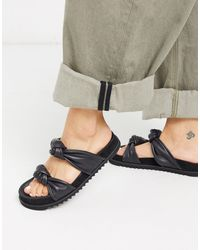Whistles Soft Knotted Leather Sliders - Black
