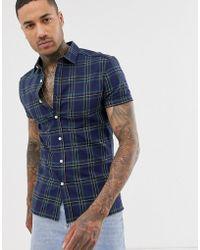 ASOS Skinny-fit Geruit Overhemd In Marineblauw En Groen