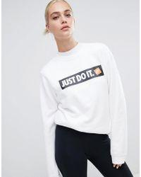 0b782a97 Nike - White Just Do It Logo Crewneck Sweatshirt - Lyst