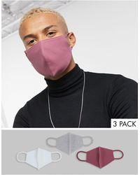 ASOS Набор Из 3 Трикотажных Масок Для Лица Из Органического Хлопка В Розовом И Сером Тонах - Многоцветный