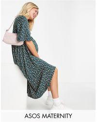 ASOS Asos Design Maternity Midi Swing Dress - Green