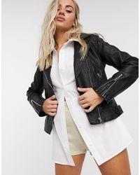 TOPSHOP Faux Leather Biker Jacket - Brown
