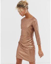 Glamorous Sequin Bodycon Dress - Brown