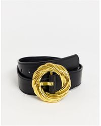 ASOS Statement Gold Buckle Waist And Hip Jeans Belt - Black