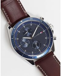 Tommy Hilfiger Mens Leather Watch - Brown