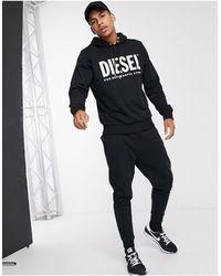 DIESEL S-Gir-Hood-Division - Felpa con cappuccio e logo nera - Nero