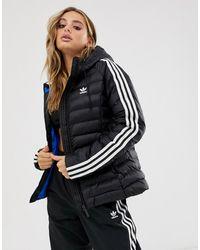adidas Originals Three Stripe Slim Padded Jacket In Black