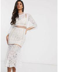 Love Triangle Платье Мидакси Кремового Цвета С Высоким Воротом -кремовый - Многоцветный