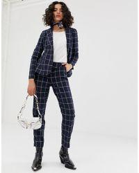 Vero Moda Grid Check Trousers - Blue