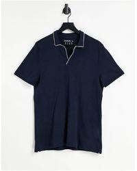 Abercrombie & Fitch Polo con ribetes blancos y cuello abierto resort - Azul