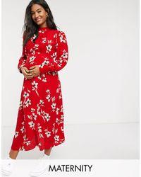 New Look High Neck Side Split Midi Dress - Red