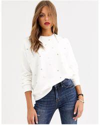 Stradivarius Pearl Detail Sweatshirt - White